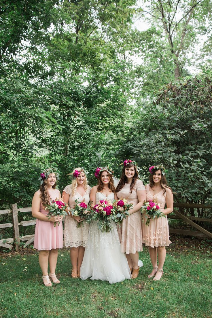 Bridesmaids in Neutral Mini Dresses and Flower Crowns