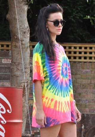 f1f7f2340c8 New Spiral Neon Tie Dye Over Sized Crew Neck T Shirt Dress from Gone Retro