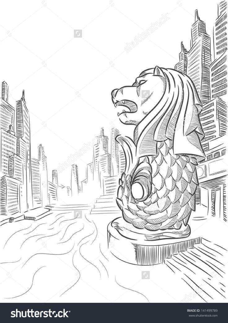 Image Result For Sketch Singapore Merlion Singapore Art