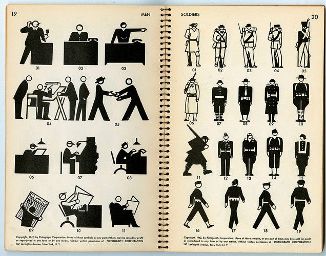 Pictographs Today and Tomorrow (1938) by Rudolf Modley is, along with Otto Neurath's Isotypes, the prototype of contemporary graphic sign-symbols.
