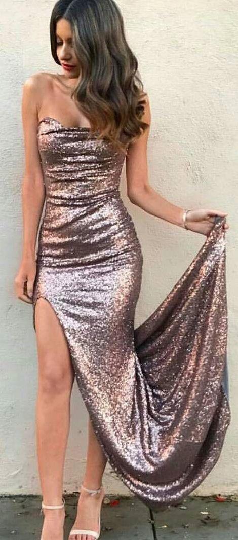 Sexy Prom Dress,Sheath Prom Dress,Strapless Prom Dresses,Split Front Prom Dress,Sequined Prom Dresses,Long Prom Dress #sequin #sexy #party #slit #prom #club