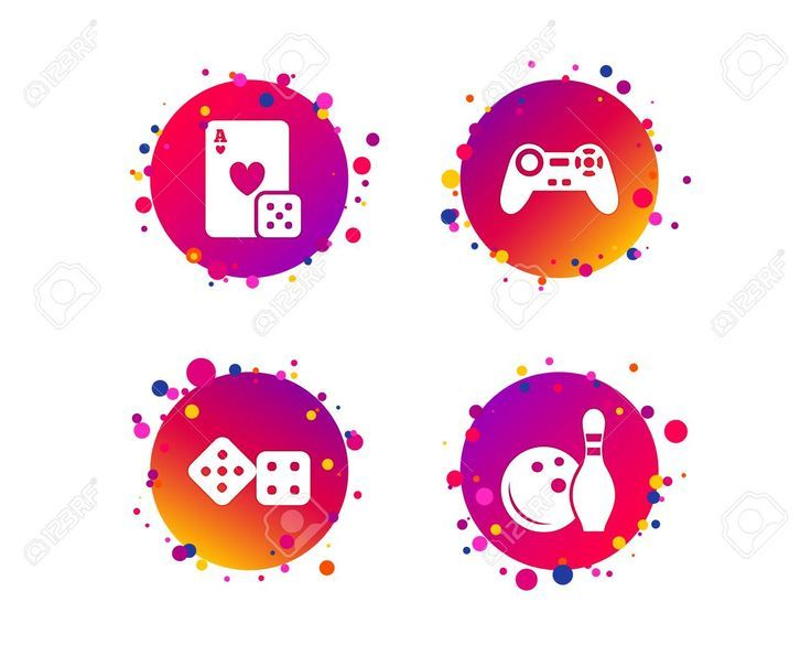 Bowling And Casino Icons Video Game Joystick And Playing Card