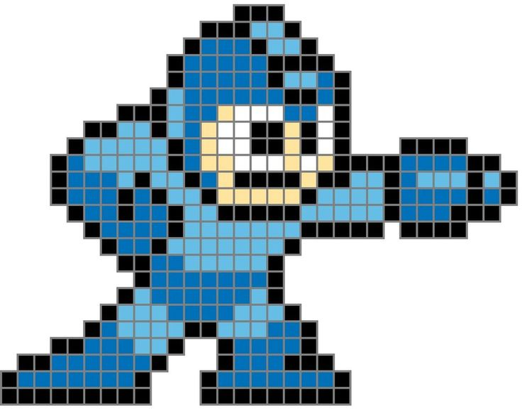 8 Bit Megaman Colored Grid by ~TheInsanePoet on deviantART