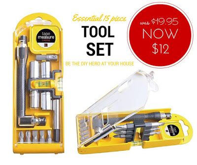 Tools Set (15 pieces) NOW $12 (was $19.95) - Every home or office needs one of these super handy tool kits. #toolkit #giftsformen #toolset