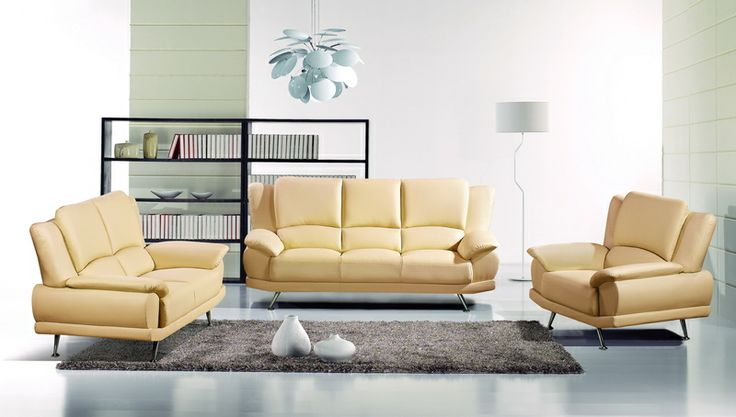 White Leather Sofa Couch Loveseat Chair Tufted Modern Living Room Set