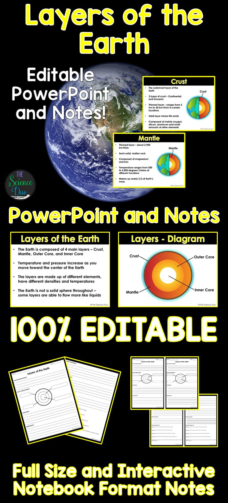 Introduce or help your students review Layers of the Earth with this PowerPoint presentation and student notes pages.  The resource covers all of the layers of the Earth: Crust, Mantle, Outer Core, and Inner Core.