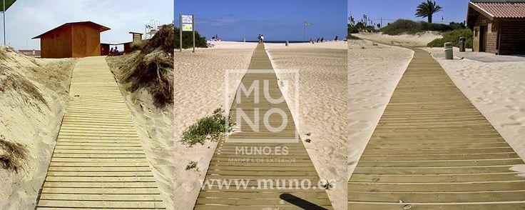 #ConstruccionesDeMadera #PasarelaDeMadera #madera Pasarela de madera articulada para playa o campo es un producto de éxito.. La cantidad que maderas muno ha fabricado se cuenta en cientos de kilómetros