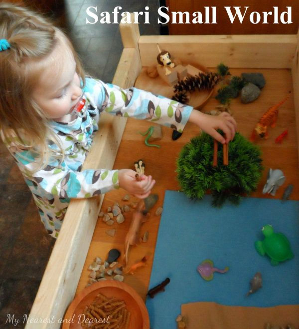 Use what you have to set up a Safari Small World. Great for pretend play and storytelling.