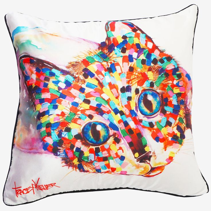 Reclining Cat cushion cover tracey keller