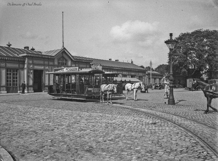 Stationsplein. Paardentram van Station naar Mastbos v.v. 1910-1920