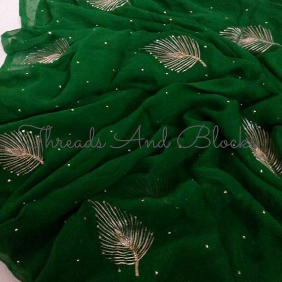 Pure Chiffon Saree with blouse by Threadsandblocks on Etsy
