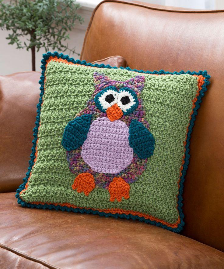 Whimsical Owl Pillow Freebie pattern, crochet, very nice ❥Teresa Restegui http://www.pinterest.com/teretegui/❥