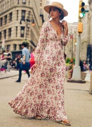 Modal Floral Long Sleeve Maxi Casual Dresses