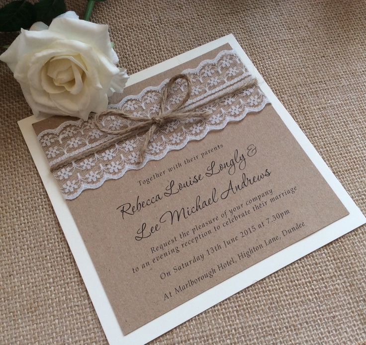 Rustic country burlap and lace wedding invitations