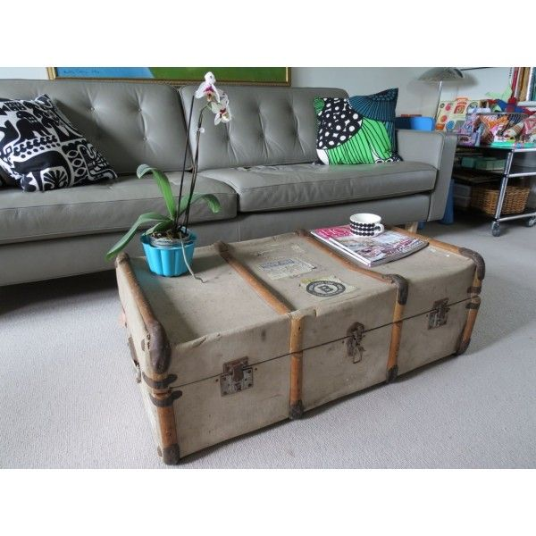 Vintage Shabby Chic Steamer Trunk Chest Coffee Table