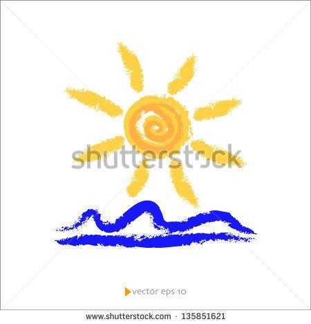 Sun and Sea Vector Illustration