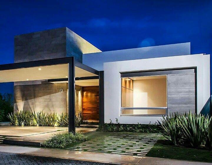 Fachada casa t rrea condom nio fechado arquitetura Disenos de casas contemporaneas pequenas