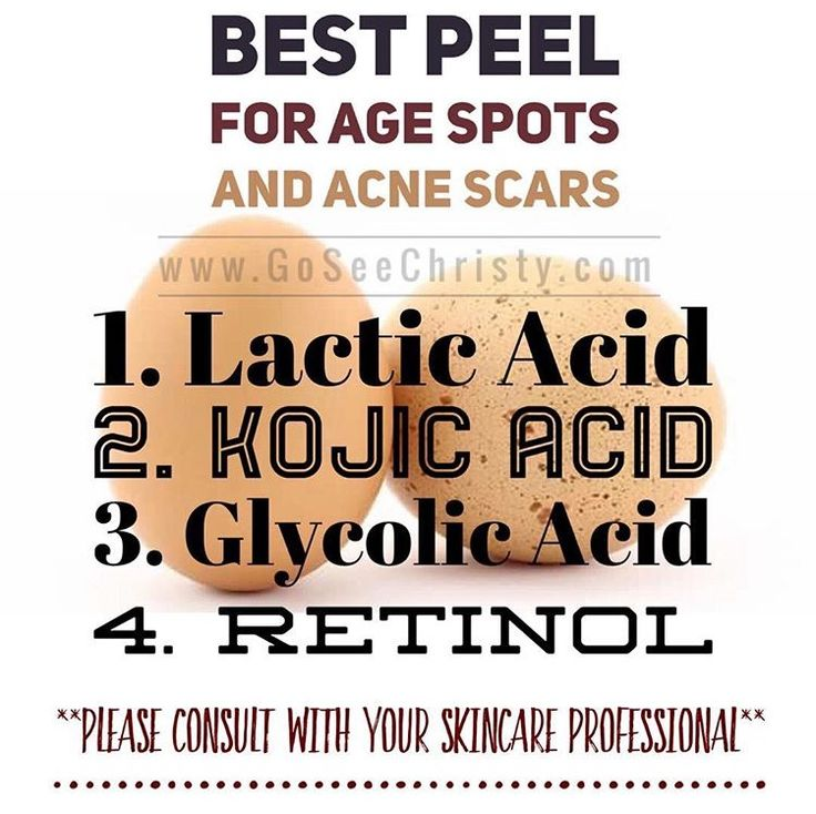 Peels are ideal in the Winter months ❄ The BEST peels to address age spots and acne scars, use: Lactic Acid, Kojic Acid, Glycolic Acid, or Retinol.