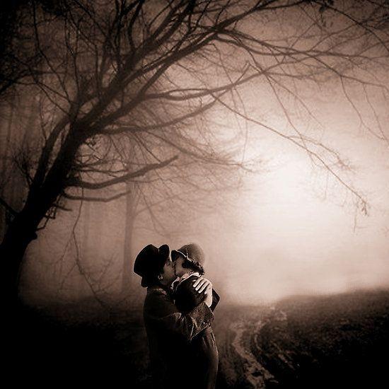 lovers full moon and fog