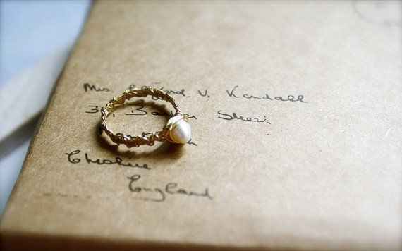 Entwined -- Pearl Handwrapped Gold Band - Everyday Classic, Dreamy Romantic, Promise Ring, Gold Ring, Valentine