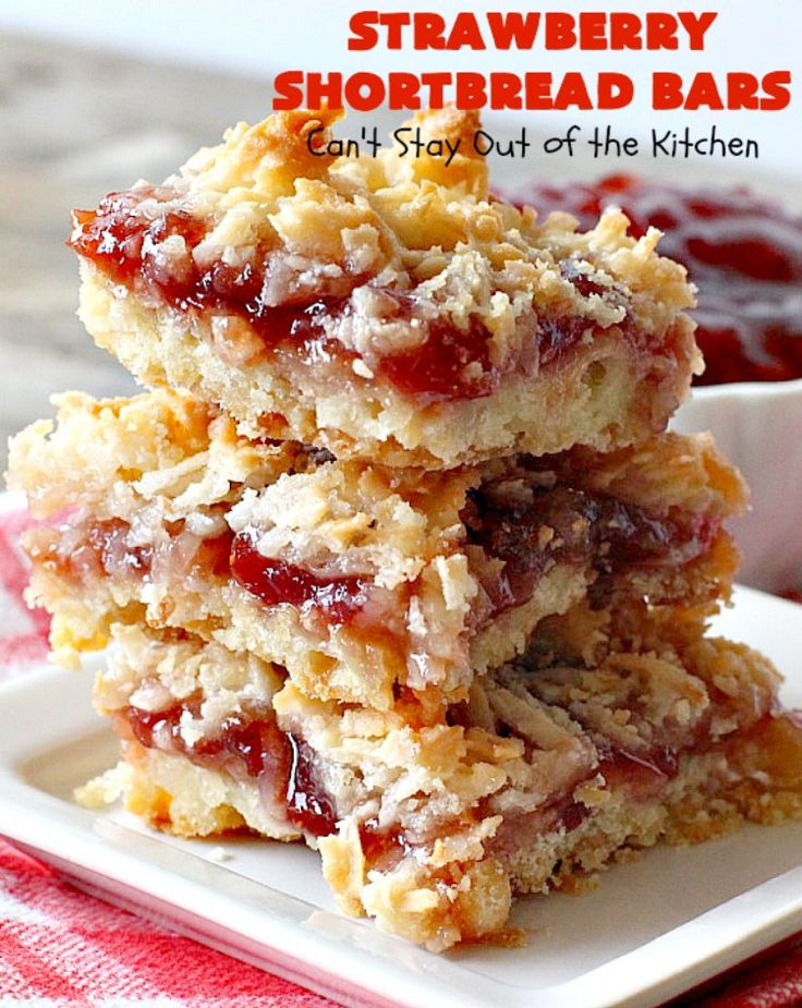 Strawberry Shortbread Bars have a shortbread crust, topped with strawberry preserves & a coconut topping. Perfect dessert for holiday parties.
