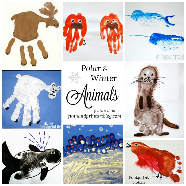 Polar and Winter animal crafts made with handprint & footprints - fun way to teach preschoolers about the Arctic, Antarctic, and Winter birds.