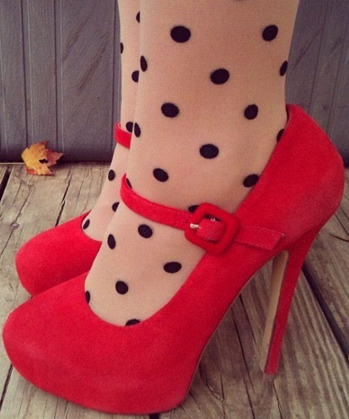 Red Mary Janes   Polka Dots