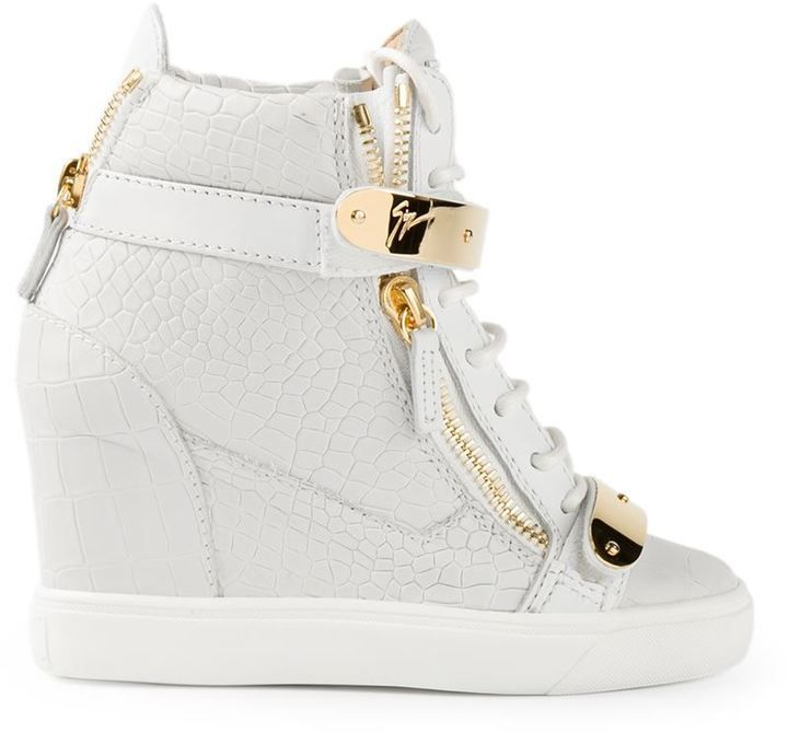High-grade Womens Giuseppe Zanotti Design Concealed Wedge Heel Hi-Top Sneakers Wholesale Trade