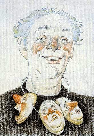 Caricatura di Dario Fo (su Pinzellades al món: Literatura i art: caricatures d'escriptors de Tullio Pericoli)