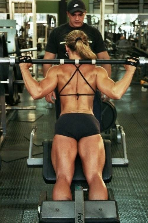 Top 10 Barbell Exercises For Women: bench press, incline bench press, close grip bench press, standing curl, reverse curl, wrist curl, overhead press, squats, upright row, bent over row