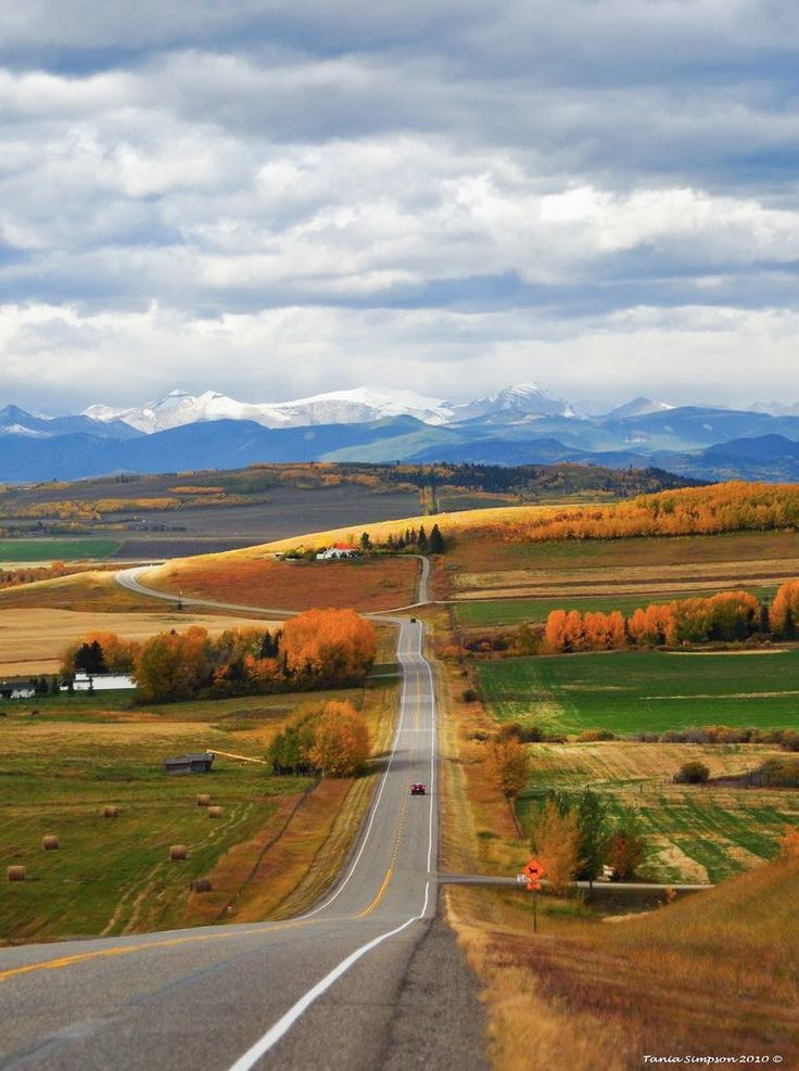 ***Country Road (Alberta, with Rockies on the horizon) by Tania Simpson on Flickr E