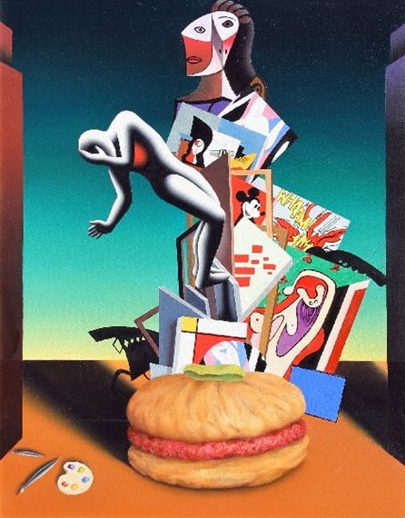 Artwork by Mark Kostabi, Starving the Artist, Made of Oil on canvas