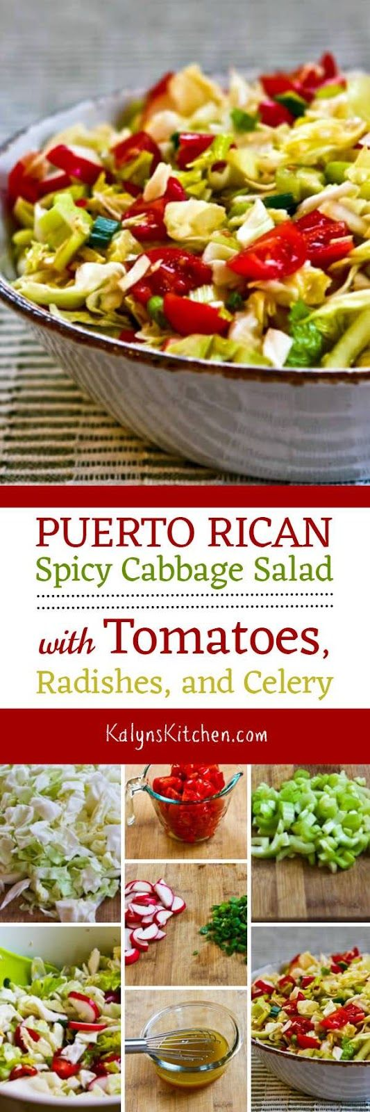 I loved this Puerto Rican Spicy Cabbage Salad with Tomatoes, Radishes, and Celery, and this interesting cabbage salad is low-carb, Keto, low-glycemic, vegan, dairy-free, gluten-free, and South Beach Diet friendly. [from KalynsKitchen.com]