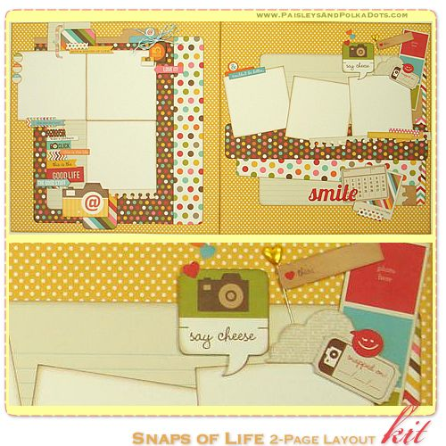 LOVE! paisleysandpolkadots.com layout kit featuring snap products with instructions (via scrapclubs.com)
