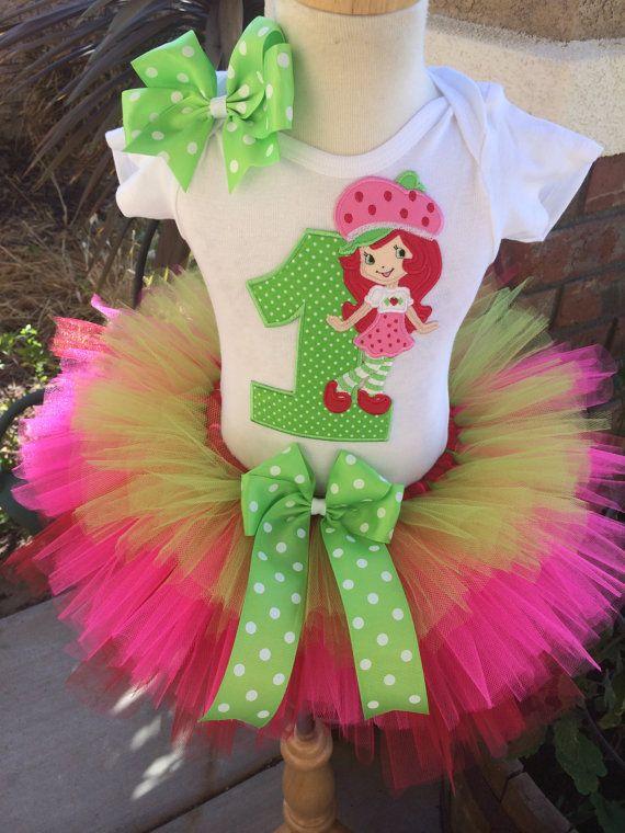So Affordable Strawberry Shortcake Birthday Party Tutu Outfit Dress Set Handmade