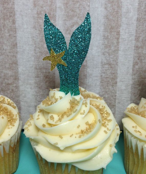 Mermaid Tail Cupcake Toppers (Mermaid Party, Glitter Decorations, Mermaid Birthday, Under the Sea)