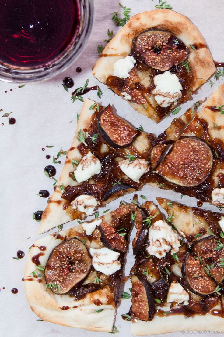 Naan Pizza with Figs Goat Cheese Balsamic Pinot Reduction