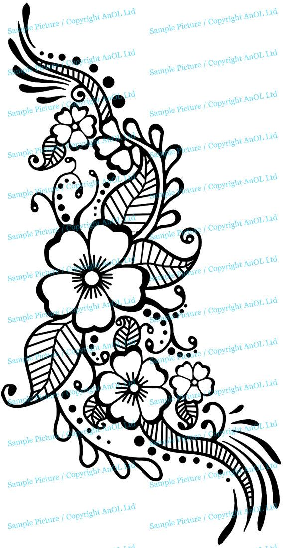 Henna Tattoo Wall Vinyl Sticker – Floral Flower Mandala Art Paisley Mehndi Indian Decal – Decor Inspired Stencil Black Home Room Joga Mural