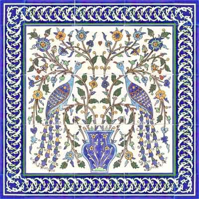 Peacock decorative tile mural