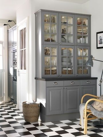 grey cabinet; digging this cabinet design for tableware, serveware, glassware