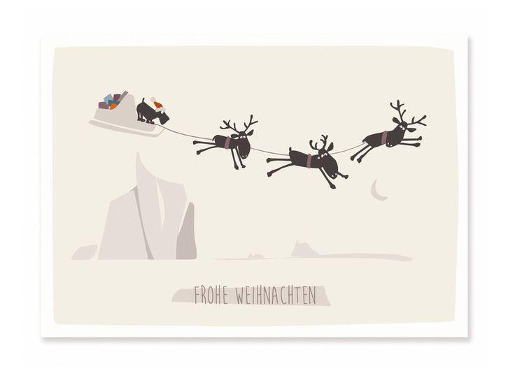 Postkarte+Frohe+Weihnachten+-+Schlitten+von+cats+on+appletrees+auf+DaWanda.com