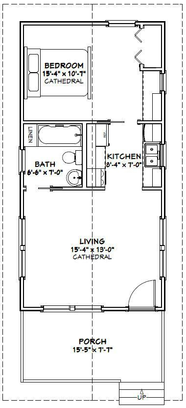 16x32 Tiny Houses -- 511 sq ft -- PDF Floor Plans -- 4:12 roof pitch