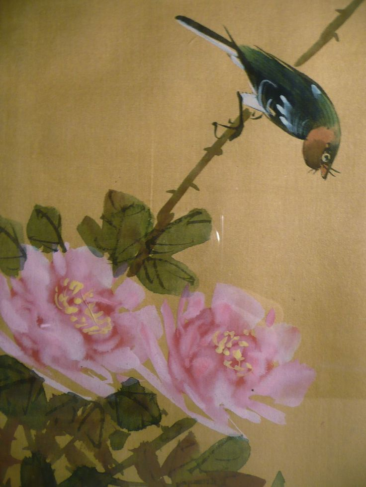 Japanese Silk Paintings Japanese Silk Art Bird With