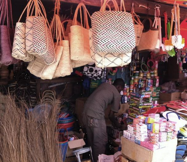 Graphically woven totes in Zanzibar Souk.