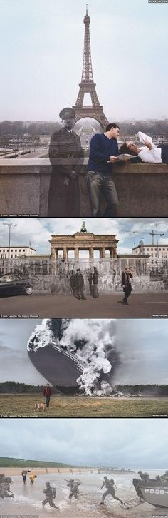 Pictures taken from the same place a picture was taken years before, then overlapped!