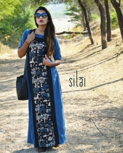 Indigo Gathered Printed Maxi Dress I Shop at :http://www.thesecretlabel.com/silai