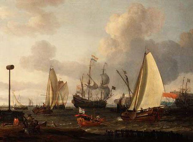 Dutch men-of-war off the coast