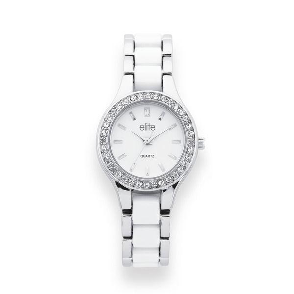 Elite Ladies Silver Tone Crystal Set Watch
