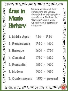 ERA's of WESTERN MUSIC.  FREE download!!         #musiceducation       #musedchat