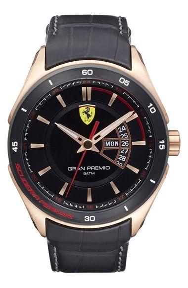 Scuderia+Ferrari+'Gran+Premio'+Leather+Strap+Watch,+45mm+available+at+#Nordstrom
